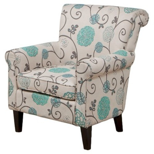 Roseville Club Chair Blue Flowers - Christopher Knight Home