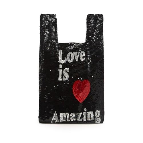 Love is Amazing sequin-embellished bag