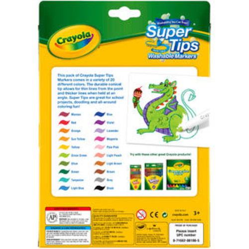 Crayola Super Tips Washable Markers-20/Pkg