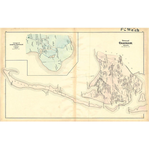 Intaglio Antique Prints and Maps Map of Chatham, Cape Cod, 1880