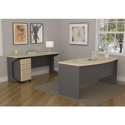 Dorel Pursuit Natural and Gray Small Office Set: Executive Desk, Credenza, Mobile File Cabinet