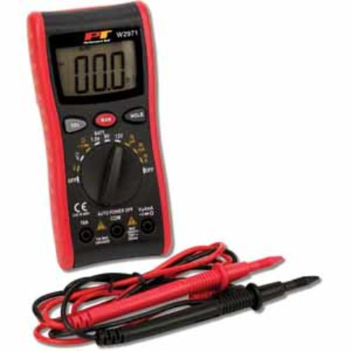 PT Digital Multimeter with AC/DC Volts, DC Current, Resistance, Auto Ranging + more.