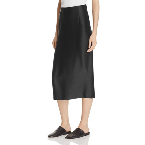 VINCE Silk Satin Midi Skirt