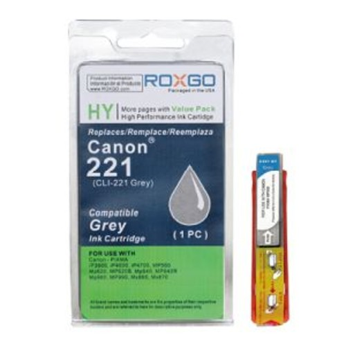 Roxgo Ink Cartridge Compatible for Canon CLI-221 - Gray