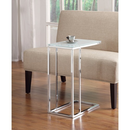 Coaster Metal Snack Table with Frosted Tempered Glass Top, Clear And Silver