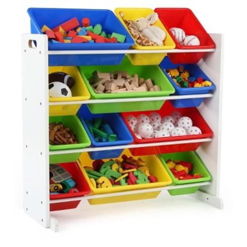 Tot Tutors Kids' Toy Storage Organizer with 12 Plastic Bins, White/Primary (Summit Collection)