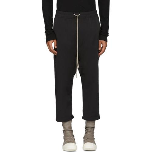 Black Nylon Drawstring Cropped Lounge Pants
