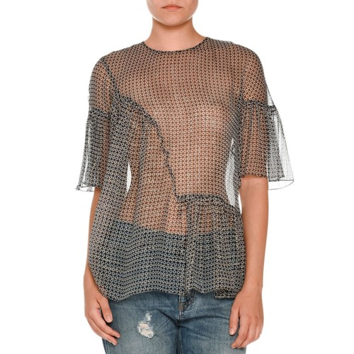 STELLA MCCARTNEY Ruffled Metallic-Print Blouse