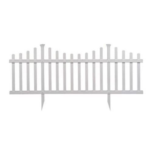 Madison No-Dig Vinyl Garden Picket Fence Kit (2-Pack)