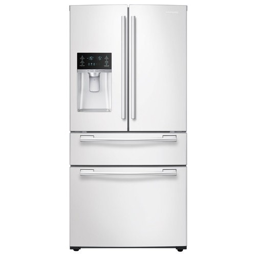 Samsung - 24.73 Cu. Ft. 4-Door French Door Refrigerator with Counter-Height FlexZone Drawer - White