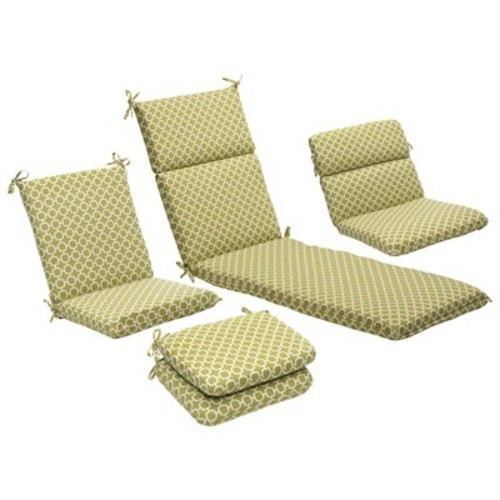 Outdoor 2-Piece Lumbar Toss Pillow Set - Green/White Geometric 24\