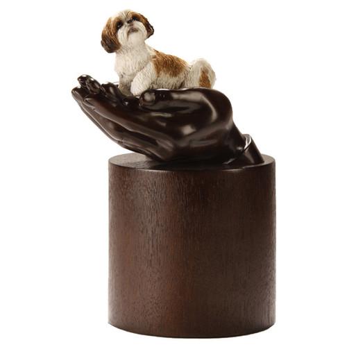 My Companion Urn Brown Resin Pet Urn with Pet Shih Tzu
