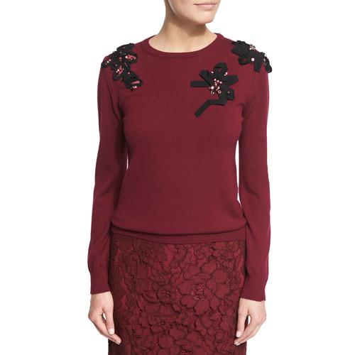 OSCAR DE LA RENTA Long-Sleeve Embellished Knit Sweater, Bordeaux