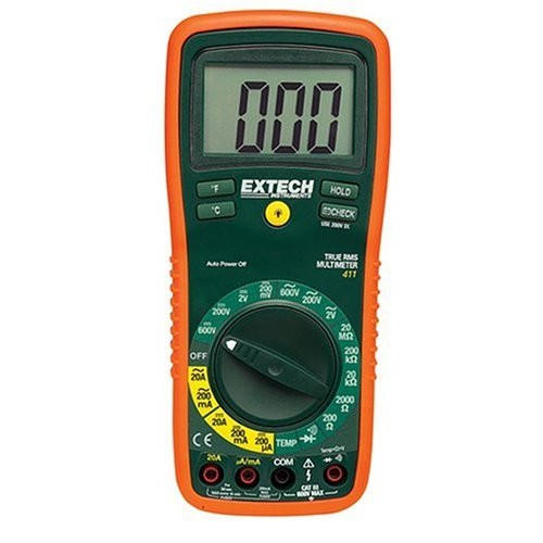 Extech EX411 True RMS Manual Ranging Digital Multimeter with Type K Remote Probe Thermometer [Standard]