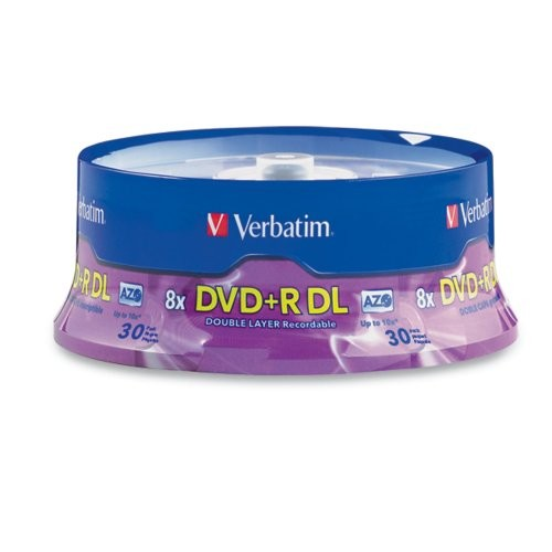 Verbatim DVD+R DL AZO 8.5GB 8x-10x Branded Double Layer Recordable Disc, 30-Disc Spindle 96542 [30-Disc]
