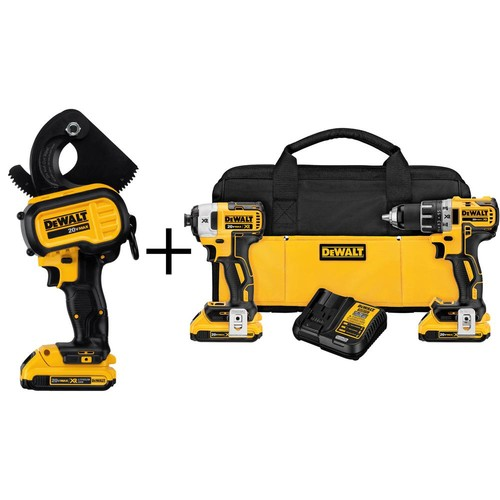 DEWALT 20-Volt MAX Lithium-Ion Cordless Cable Cutting Tool with Battery 2Ah and Bonus 20-Volt XR Brushless Combo Kit (2-Tool)