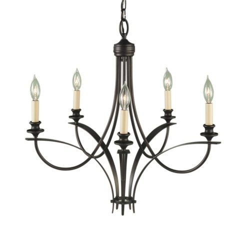 Murray Feiss F1888/5ORB, Boulevard Single Tier Chandelier, 5 Light, 300 Watts, Oil Rubbed Bronze [Oil-rubbed Bronze]