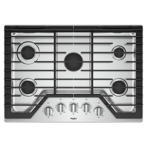 Whirlpool 30 in. Gas Cooktop in Stainless Steel with 5 Burners and Griddle