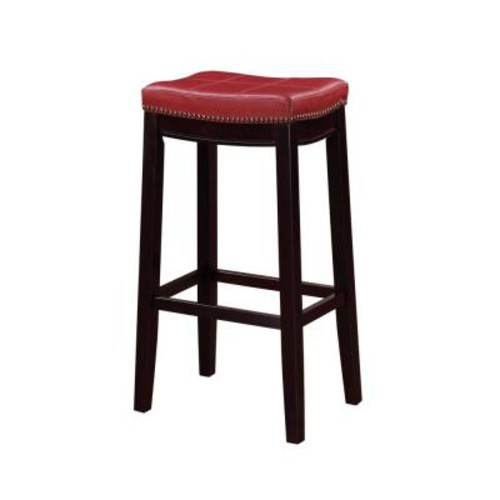 Linon Home Decor Claridge 32 in. Red Cushioned Bar Stool