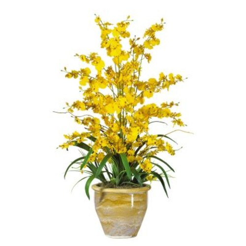 nearly natural Silk Triple Dancing Lady Orchid Floral Arrangement