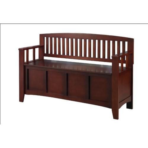 Linon Cynthia Chinese Hard Wood Storage Bench; Walnut