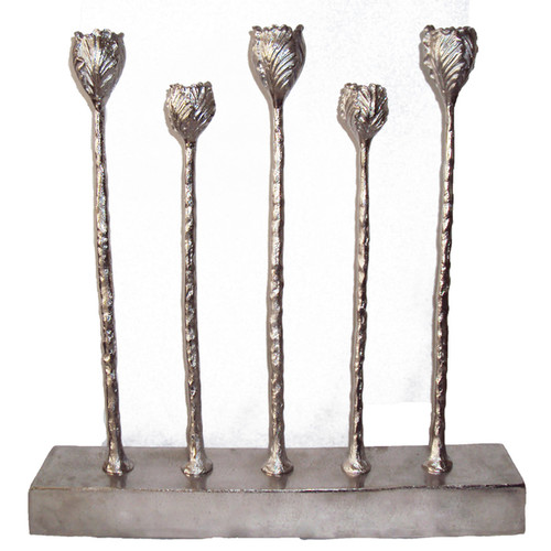 A and B Home Candles & Candle Holders Silver Aluminum Candle Holder