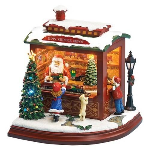 Lit LED Santa's Train Shop Musical Decorative Figurine