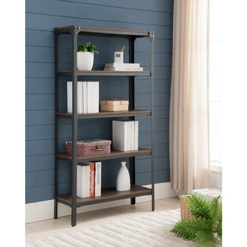 K and B Furniture Co Inc Bookshelves & Bookcases Antique Walnut Metal Wood 5-tier Bookcase