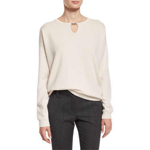 BRUNELLO CUCINELLI Long-Sleeve Monili Keyhole Sweater, Vanilla
