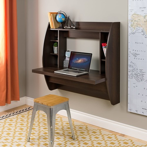 Prepac Wall Mounted Floating Desk with Storage in Espresso