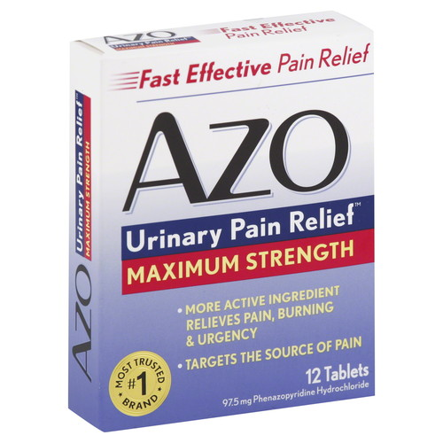 Azo Standard Urinary Pain Relief, Maximum Strength, Tablets, 12 tablets