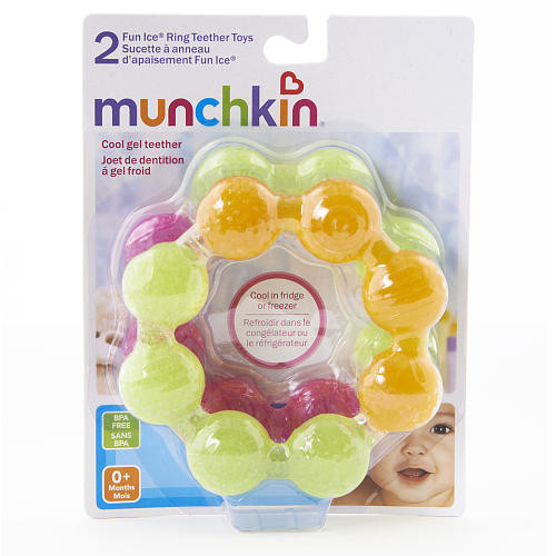 Munchkin BPA Free 2 Pack Fun Ice Soothing Ring Teether Toy - Pink/Green & Orange/Green