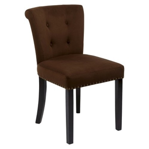 Kendal Velvet Dining Chair Wood/Chocolate - Office Star