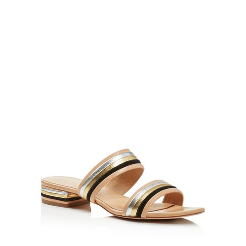 LOEFFLER RANDALL Rubie Color Block Metallic Stripe Slide Sandals