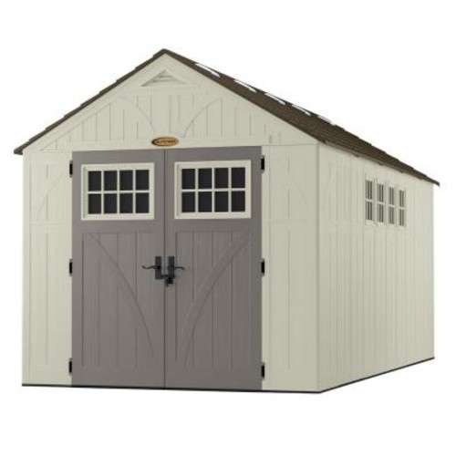 Suncast Tremont 16 ft. 3-1/4 in. x 8 ft. 4-1/2 in. Resin Storage Shed with Windows