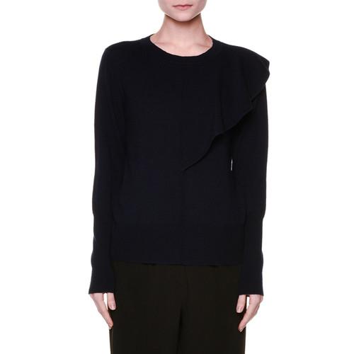 MARNI Long-Sleeve Asymmetric Ruffle Sweater, Navy