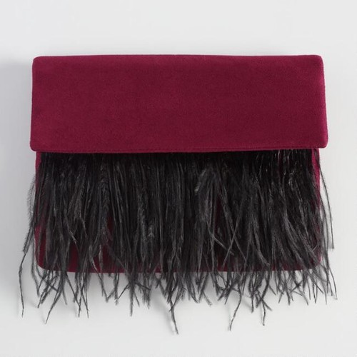 Wine Faux Suede Clutch with Ostrich Feathers