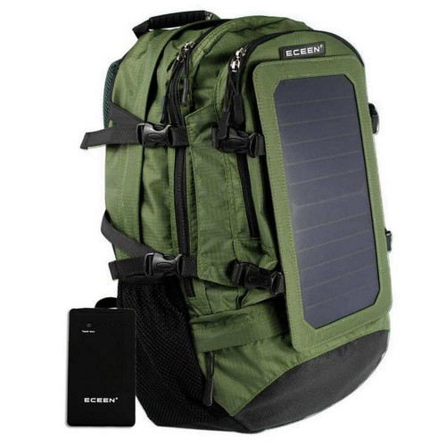 SolarGoPack Solar Backpack, 10k mAh battery, 7-Watt Solar Panel in Army Green