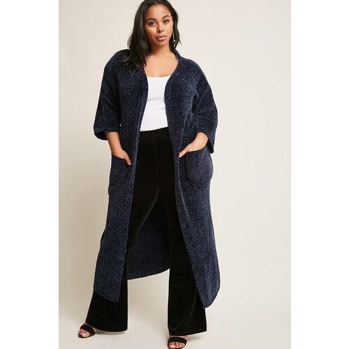 Plus Size Chenille Longline Cardigan