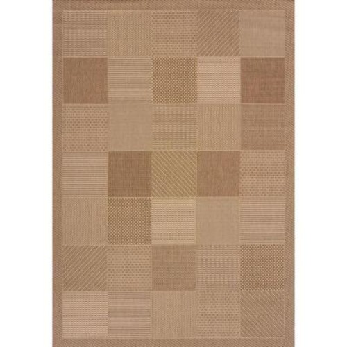 United Weavers Patio Block Brown 7 ft. 10 in. x 10 ft. 6 in. Indoor/Outdoor Area Rug