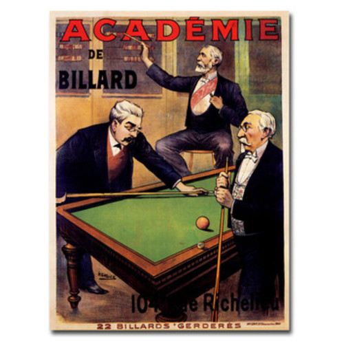 'Academie de Billiard' Framed Vintage Advertisement on Wrapped Canvas