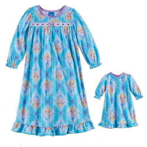 Disney's Frozen Toddler Girl Elsa Nightgown & Doll Gown Set