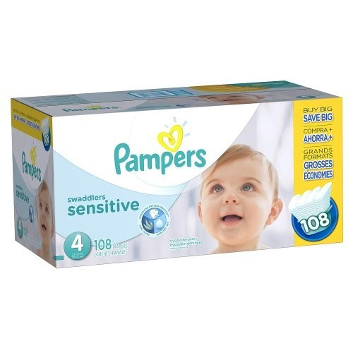 Pampers Swaddlers Sensitive Diapers Size 4, 108 Count [4, 108]