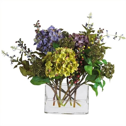 Nearly Natural Mixed Hydrangea withRectangle Vase Silk Flower Arrangement