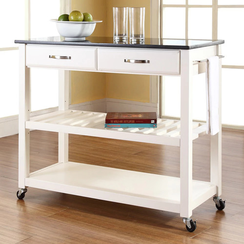 Crosley Furniture Black Granite Top Kitchen Cart