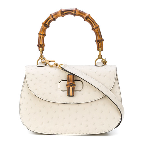 bamboo ostrich top handle bag