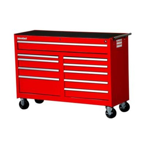International Workshop Series 54 in. 10-Drawer Roller Cabinet Tool Chest in Red