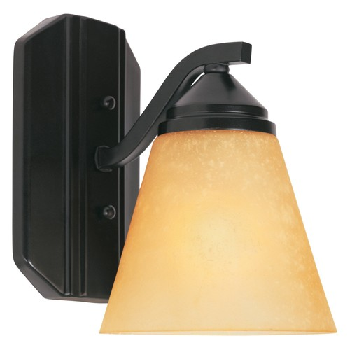 Piazza 1 Light Wall Sconce - Finish: Oil Rubbed Bronze with Golden Shade