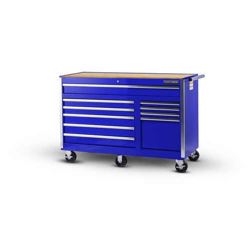 Craftsman 56 in. 10-Drawer Ball Bearing Slides Cabinet with Hard Wood Top in Blue