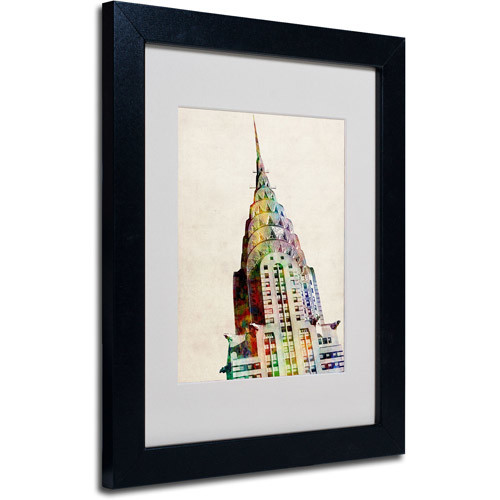 Chrysler Building Framed Matted Art by Michael Tompsett, 11 by 14-Inch, Black Frame [11 by 14-Inch]